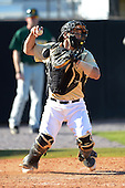 Central Florida Knights catcher Jordan Savinon (29) during a game against the Siena Saints at Jay Bergman Field on February 16, 2014 in Orlando, Florida.  UCF defeated Siena 9-6.  (Copyright Mike Janes Photography)