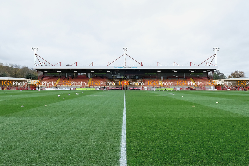 General view of the ground ahead of Crawley Town vs Carlisle United, Sky Bet EFL League 2 Football at Broadfield Stadium on 21st November 2020