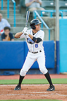 Elias Torres (8) of the Hudson Valley Renegades at bat against the Brooklyn Cyclones at Dutchess Stadium on June 18, 2014 in Wappingers Falls, New York.  The Cyclones defeated the Renegades 4-3 in 10 innings.  (Brian Westerholt/Four Seam Images)