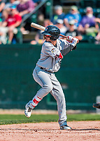 4 September 2017: Tri-City ValleyCats infielder Jonathan Arauz at bat in the 6th inning during the first game of a double-header against the Vermont Lake Monsters at Centennial Field in Burlington, Vermont. The ValleyCats split their games, winning 6-5 in the first, then dropping the second 7-4 to the Lake Monsters in NY Penn League action. Mandatory Credit: Ed Wolfstein Photo *** RAW (NEF) Image File Available ***
