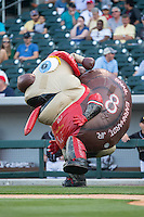 """Snail Earnhardt Jr."" of the Zooperstars entertains fans between innings of the International League game between the Columbus Clippers and the Charlotte Knights at BB&T BallPark on May 27, 2015 in Charlotte, North Carolina.  The Clippers defeated the Knights 9-3.  (Brian Westerholt/Four Seam Images)"