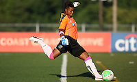 Philadelphia goalkeeper, Karina LeBlanc (23) takes a goal kick in their game against the Boston Breakers.  Philadelphia took an early lead, but Boston stormed back with two goals to capture the win, 2-1, at Farrell Stadium in West Chester, PA.