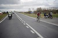 with only 5km to go Greg Van Avermaet (BEL/BMC) has secured a considerable lead over a chasing peloton<br /> <br /> 71st Dwars door Vlaanderen (1.HC)
