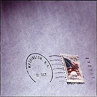 Close up on Washington D.C. postal cancelation mark and 29 cent stamp<br />