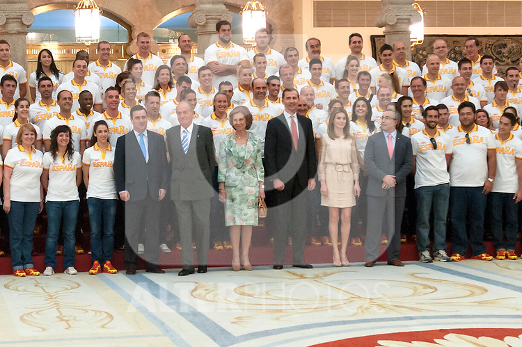 King and Queen of Spain and their Royal Highnesses the Princes of Asturias..Hearing the Spanish Olympic team, participating in the Olympic Games of London 2012 . July 23, 2012. (ALTERPHOTOS/Ricky Blanco)