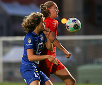 Fleur Van Daele (4) of KAA Gent and Marie Bougard (10) of Woluwe battle for the ball during a female soccer game between FC Femina White Star Woluwe and KAA Gent Ladies on the third match day in the 2021 - 2022 season of Belgian Scooore Womens Super League , Friday 3 th of September 2021  in Woluwe , Belgium . PHOTO SPORTPIX   SEVIL OKTEM