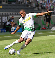 23rd May 2020, BORUSSIA-PARK, North Rhine-Westphalia, Germany; Bundesliga football, Borussia Moenchengladbach versus Bayer Leverkusen; Alassane Plea (BMG) crosses into the box
