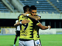 BARRANCABERMEJA - COLOMBIA, 03-02-2021: Jairo Molina de Alianza Petrolera, celebra el gol anotado a Aguilas Doradas Rionegro durante partido Alianza Petrolera y Aguilas Doradas Rionegro de la fecha 4 por la Liga BetPlay DIMAYOR I 2021 en el estadio Daniel Villa Zapata en la ciudad de Barrancabermeja. / Jairo Molina of Alianza Petrolera, celebrates a scored goal to Aguilas Doradas Rionegro during a match between Alianza Petrolera and Aguilas Doradas Rionegro of the 4th date for the BetPlay DIMAYOR I 2021 League at the Daniel Villa Zapata stadium in Barrancabermeja city. Photo: VizzorImage / Jose D. Martinez / Cont.