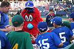 Reno Aces mascot Archie greets a group of local baseball players before a game against the Albuquerque Isotopes in Reno, Nev., on Saturday, April 18, 2015.<br /> Photo by Cathleen Allison