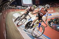 Alex Rasmussen (DEN) slings Yoeri Havik (NED) into his fastest lap<br /> <br /> 2016 Gent 6<br /> day 4