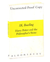 BNPS.co.uk (01202) 558833<br /> Pic: Ewbank's/BNPS<br /> <br /> A rare uncorrected proof of Harry Potter and the Philosopher's Stone by 'J.A. Rowling' written on the title page has sold at auction for more than £23,000.<br /> <br /> The 24 year old erroneous copy, one of 200 printed, is covered in its original white and yellow wrappers and is already generating muggle excitement.