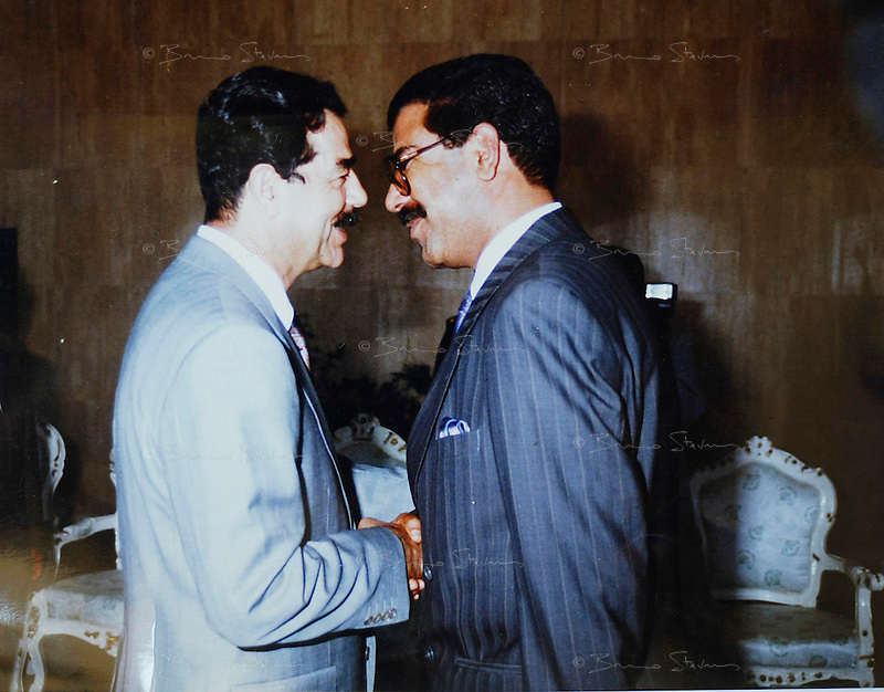Baghdad, Iraq, Saddam's family pictures, date unknown..Saddam, left, with his half-brother Watban