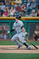 Ty France (25) of the El Paso Chihuahuas bats against the Salt Lake Bees at Smith's Ballpark on August 13, 2018 in Salt Lake City, Utah. Salt Lake defeated El Paso 4-3. (Stephen Smith/Four Seam Images)