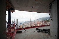 View of Monaco from the penthouse suite, under construction, on the 49th floor of the Tour Odéon, Monaco, 18 October 2013. The suite will take up 5 floors of the tower and have 8 bedrooms: 5 main bedrooms and 3 staff bedrooms.