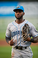 Hudson Valley Renegades left fielder Bryce Brown (1) jogs back to the dugout during a game against the Auburn Doubledays on September 5, 2018 at Falcon Park in Auburn, New York.  Hudson Valley defeated Auburn 11-5.  (Mike Janes/Four Seam Images)