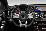 Car pictures of steering wheel view of a 2019 Mercedes Benz C-CLass 63-AMG 4 Door Sedan Steering Wheel