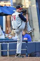 Toledo Mud Hens starting pitcher Robbie Ray #24 warms up in the bullpen before a game against the Durham Bulls at Durham Bulls Athletic Park on July 25, 2014 in Durham, North Carolina. The Mud Hens defeated the Bulls 5-3. (Tony Farlow/Four Seam Images)