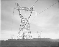Photograph of Transmission Lines in Mojave Desert Leading from Boulder Dam;<br /> From the series Ansel Adams Photographs of National Parks and Monuments, compiled 1941 - 1942, documenting the period ca. 1933 - 1942.<br /> Date <br /> <br /> 1941