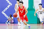 Tsai Choi Kwan #27 of SCAA Men's Basketball Team dribbles the ball up court against the Eastern Long Lions during the Hong Kong Basketball League game between Eastern Long Lions and SCAA at Southorn Stadium on May 29, 2018 in Hong Kong. Photo by Yu Chun Christopher Wong / Power Sport Images