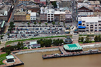 aerial photograph of the Mississippi River Pier, French Quarter, New Orleans, Louisiana, Jax Brewery at the right