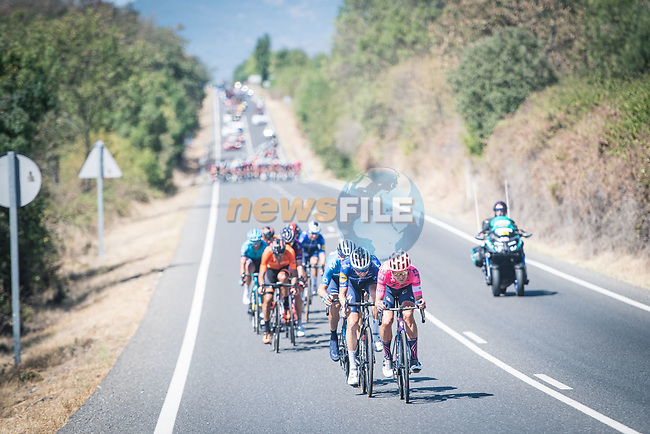 The breakaway including Magnus Cort Nielsen (DEN) EF Education-Nippo during Stage 15 of La Vuelta d'Espana 2021, running 197.5km from Navalmoral de la Mata to El Barraco, Spain. 29th August 2021.     <br /> Picture: Charly Lopez/Unipublic   Cyclefile<br /> <br /> All photos usage must carry mandatory copyright credit (© Cyclefile   Unipublic/Charly Lopez)