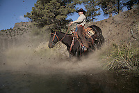 Rick Lauman rides down a steep embankment on his mustang.  Sure-footed and trusting, the horse is loyal to Lauman.<br /> His wife, Kitty Lauman trains mustangs--as she says working with the horses, not against them.  They have a ranch in Prineville, OR.