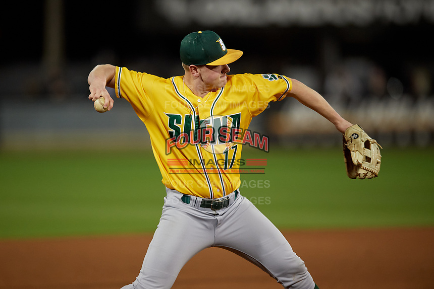 Siena Saints third baseman Pat O'Hare (17) throws to first base during a game against the UCF Knights on February 14, 2020 at John Euliano Park in Orlando, Florida.  UCF defeated Siena 2-1.  (Mike Janes/Four Seam Images)