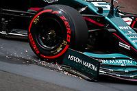 22nd May 2021; Principality of Monaco; F1 Grand Prix of Monaco, qualifying sessions;  05 VETTEL Sebastian (ger), Aston Martin F1 AMR21 sparks on a bumpy circuit