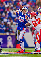 9 November 2014: Buffalo Bills quarterback Kyle Orton sets to make a forward pass against the Kansas City Chiefs at Ralph Wilson Stadium in Orchard Park, NY. The Chiefs rallied with two fourth quarter touchdowns to defeat the Bills 17-13. Mandatory Credit: Ed Wolfstein Photo *** RAW (NEF) Image File Available ***