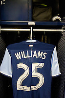 Harrison, NJ - Wednesday Feb. 22, 2017: Sheanon Williams prior to a Scotiabank CONCACAF Champions League quarterfinal match between the New York Red Bulls and the Vancouver Whitecaps FC at Red Bull Arena.