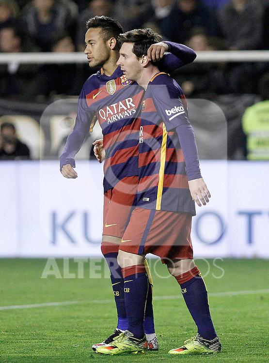 FC Barcelona's Leo Messi (r) and Neymar Jr celebrate goal during La Liga match. March 3,2016. (ALTERPHOTOS/Acero)