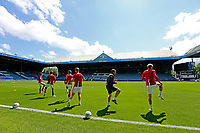 Nottingham Forest players go through their pre-match warm-ups in front of empty stands <br /> <br /> Photographer Rich Linley/CameraSport<br /> <br /> The EFL Sky Bet Championship - Sheffield Wednesday v Nottingham Forest - Saturday 20th June 2020 - Hillsborough - Sheffield <br /> <br /> World Copyright © 2020 CameraSport. All rights reserved. 43 Linden Ave. Countesthorpe. Leicester. England. LE8 5PG - Tel: +44 (0) 116 277 4147 - admin@camerasport.com - www.camerasport.com