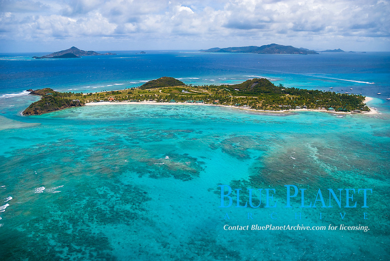 aerial view of Palm Island Resort, Palm Island, Saint Vincent and the Grenadines, Caribbean Sea, Atlantic Ocean