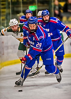 19 January 2018: University of Massachusetts Lowell Riverhawks Forward John Edwardh, a Senior from Calgary, Alberta, in first period action against the University of Vermont Catamounts at Gutterson Fieldhouse in Burlington, Vermont. The Riverhawks rallied to defeat the Catamounts 3-2 in overtime of their Hockey East matchup. Mandatory Credit: Ed Wolfstein Photo *** RAW (NEF) Image File Available ***