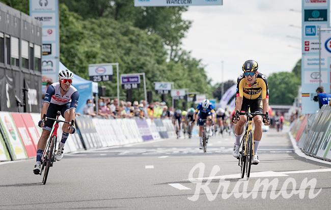 Wout van Aert (BEL/Jumbo-Visma) & Edward Theuns (BEL/Trek-Segafredo) sprinting towards the finish<br /> <br /> Belgian National Championships 2021 - Road Race<br /> <br /> One day race from Waregem to Waregem (221km)<br /> <br /> ©kramon