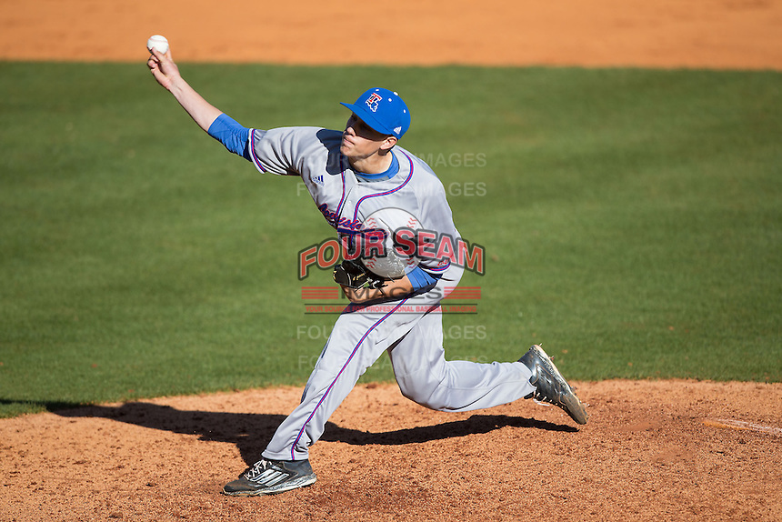 Louisiana Tech Bulldogs starting pitcher Phil Maton (24) delivers a pitch to the plate against the Charlotte 49ers at Hayes Stadium on March 28, 2015 in Charlotte, North Carolina.  The 49ers defeated the Bulldogs 9-5 in game two of a double header.  (Brian Westerholt/Four Seam Images)