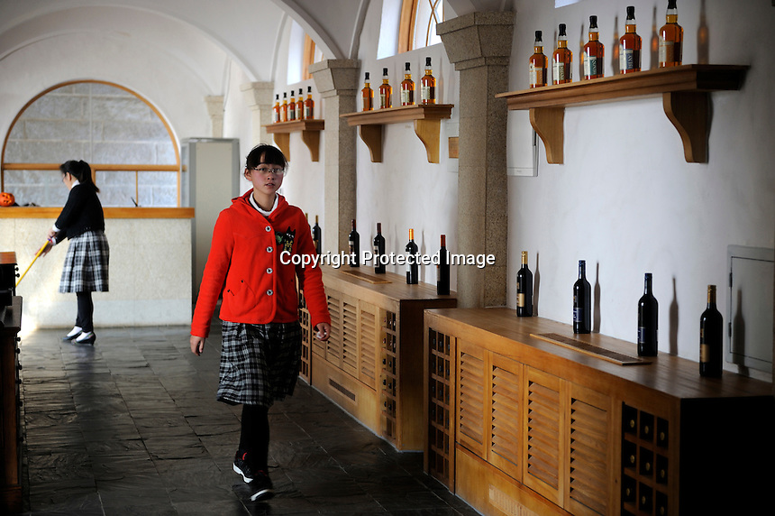 Bottle wine and whisky from Europe are shown at Treaty Port Vineyard in Yantai, Shandong province, China. 06-Nov-2010
