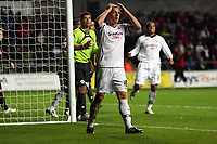 Pictured: Garry Monk captain for Swansea holds his head in his hands in disbelief for a missed opportunity.<br /> Re: Coca Cola Championship, Swansea City Football Club v Queens Park Rangers at the Liberty Stadium, Swansea, south Wales 21st October 2008.