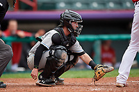 Akron RubberDucks catcher Logan Ice (9) during an Eastern League game against the Erie SeaWolves on June 2, 2019 at UPMC Park in Erie, Pennsylvania.  Akron defeated Erie 7-2 in the first game of a doubleheader.  (Mike Janes/Four Seam Images)