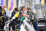 Wout Van Aert (BEL) Jumbo-Visma gets a kiss from his partner at the end of the 2021 Brabantse Pijl running 201.7km from Leuven to Overijse, Belgium. 14th April 2021.  <br />