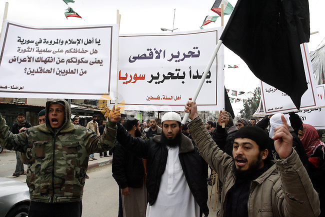 A Palestinian Salafist takes part in a protest against Syria's President Bashar al-Assad in Rafah in the southern Gaza Strip February 24, 2012. Photo by Abed Rahim Khatib