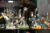 Glass bongs to smoke cannabis<br /> Rome February 21st 2020. Hemp Fair Canapa Mundi Rome 2020.<br /> Photo Samantha Zucchi Insidefoto