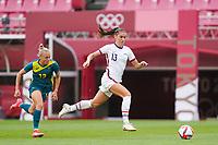 KASHIMA, JAPAN - JULY 27: Alex Morgan #13 of the United States and Tameka Yallop #13 of Australia battle for the ball during a game between Australia and USWNT at Ibaraki Kashima Stadium on July 27, 2021 in Kashima, Japan.