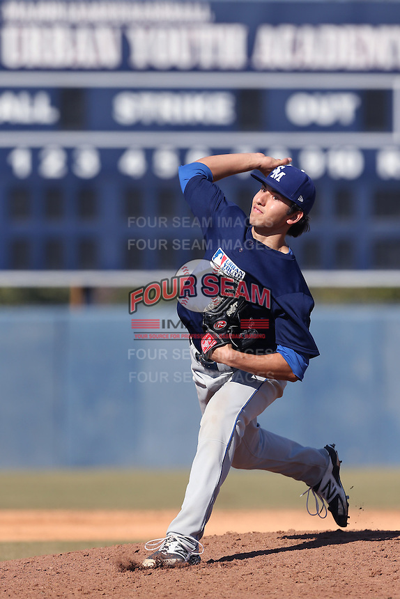 Jeff Bain of San Marino High School in San Marino, California during the MLBS Southern California Invitational Workout at the Urban Youth Academy on February 14, 2014 in Compton, California. (Larry Goren/Four Seam Images)
