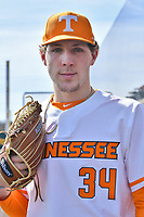 University of Tennessee pitcher Garrett Crochet (34) before the game against the Western Illinois Leathernecks at Lindsey Nelson Stadium on February 15, 2020 in Knoxville, Tennessee. The Volunteers defeated Leathernecks 19-0. (Tony Farlow/Four Seam Images)