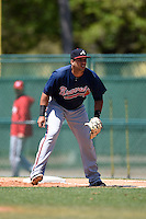 Atlanta Braves first baseman Edison Sanchez (72) during a minor league spring training game against the Washington Nationals on March 26, 2014 at Wide World of Sports in Orlando, Florida.  (Mike Janes/Four Seam Images)