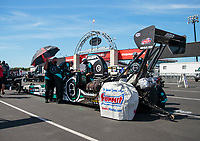 Sep 4, 2020; Clermont, Indiana, United States; Crew members for NHRA top alcohol dragster driver Corey Michalek during qualifying for the US Nationals at Lucas Oil Raceway. Mandatory Credit: Mark J. Rebilas-USA TODAY Sports
