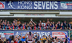Scotland players celebrate with the trophy after winning the Bowl Final during the Cathay Pacific / HSBC Hong Kong Sevens at the Hong Kong Stadium on 30 March 2014 in Hong Kong, China. Photo by Xaume Olleros / Power Sport Images