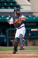 Detroit Tigers catcher Jake Rogers (52) throws the ball back to the pitcher during an Instructional League game against the Toronto Blue Jays on October 12, 2017 at Joker Marchant Stadium in Lakeland, Florida.  (Mike Janes/Four Seam Images)