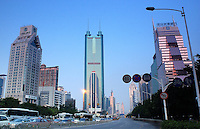 The Di Wang Commercial Building (centre) is China's second tallest and towers above downtown Shenzhen in South China. Shenzhen is China's oldest new city, it is the city that was the experimental are for Deng's economic reforms and is one of the richest and most modern cities in China..